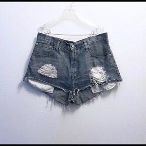 Levi's Distressed Cut Off Denim Shorts